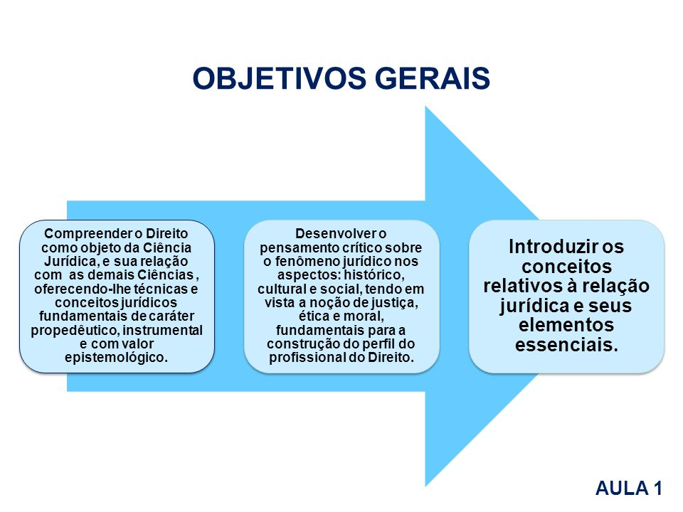 Compreender o Direito como objeto da Ciência Jurídica, e sua relação com as demais Ciências, oferecendo-lhe técnicas e conceitos jurídicos fundamentai