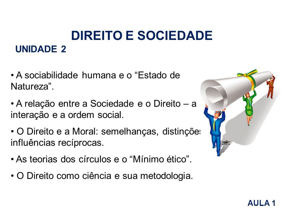 A sociabilidade humana e o Estado de Natureza. A relação entre a Sociedade e o Direito – a interação e a ordem social. O Direito e a Moral: semelhança