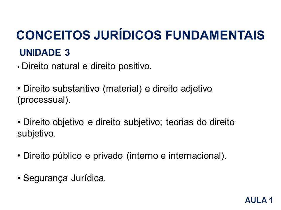 CONCEITOS JURÍDICOS FUNDAMENTAIS UNIDADE 3 Direito natural e direito positivo. Direito substantivo (material) e direito adjetivo (processual). Direito