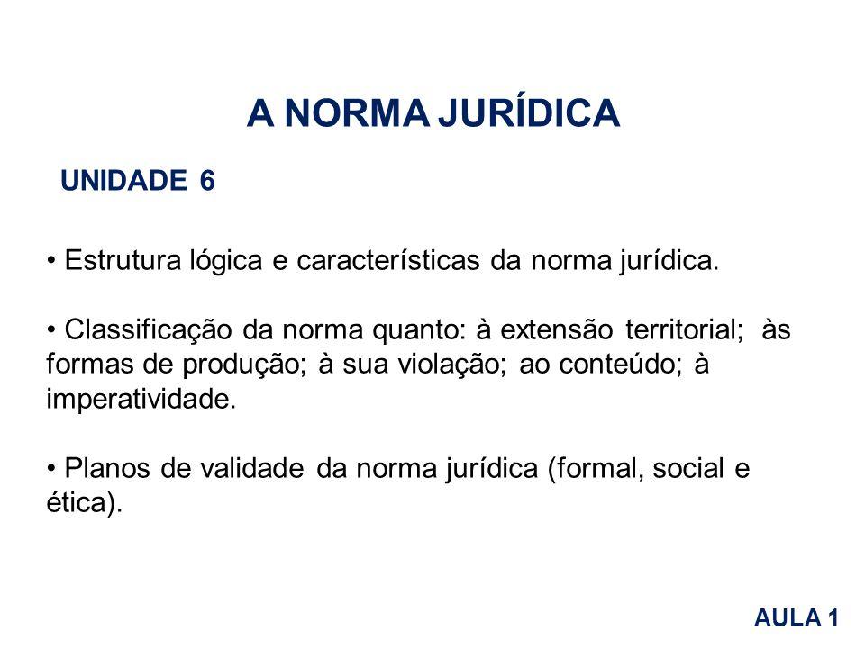 A NORMA JURÍDICA UNIDADE 6 Estrutura lógica e características da norma jurídica. Classificação da norma quanto: à extensão territorial; às formas de p