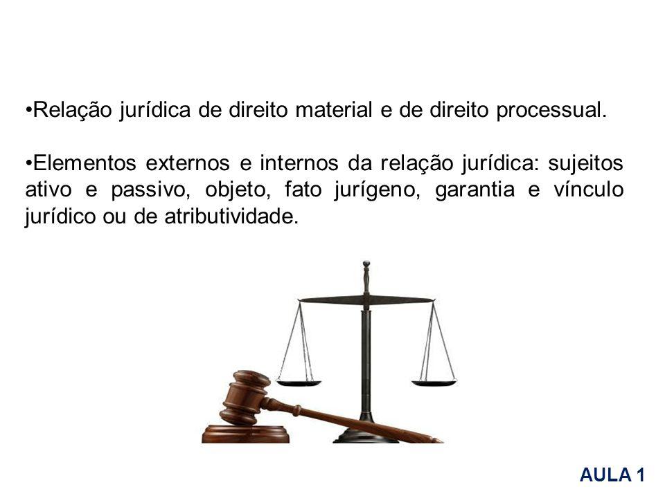 Relação jurídica de direito material e de direito processual. Elementos externos e internos da relação jurídica: sujeitos ativo e passivo, objeto, fat