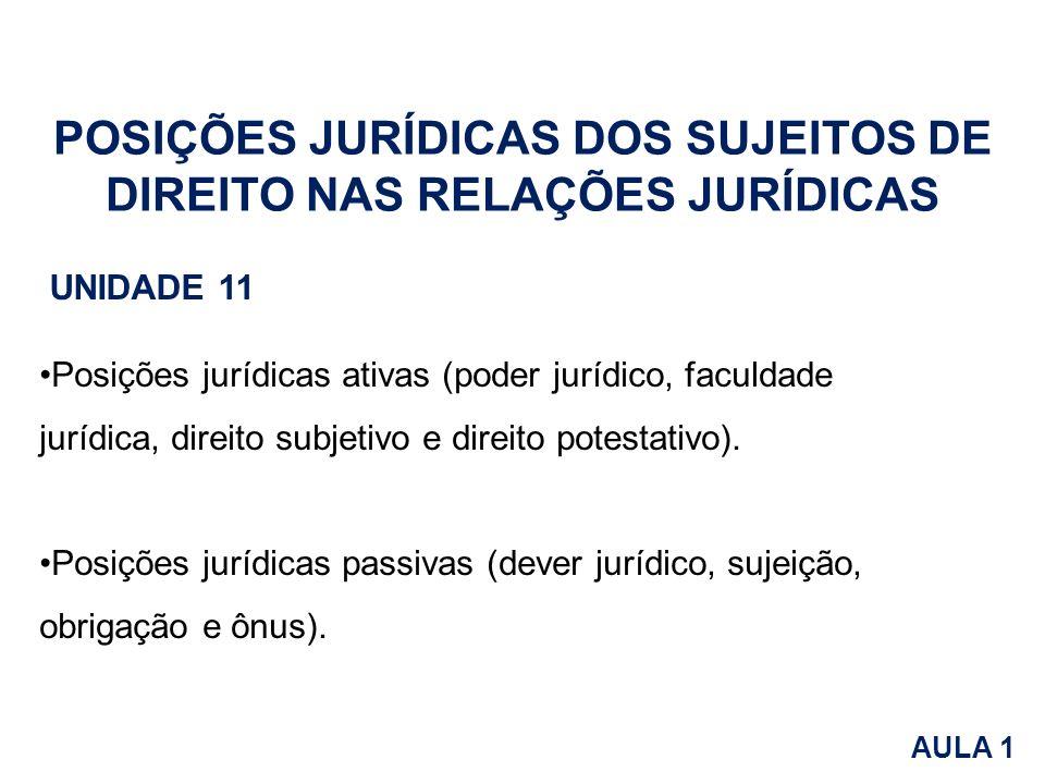 Posições jurídicas ativas (poder jurídico, faculdade jurídica, direito subjetivo e direito potestativo). Posições jurídicas passivas (dever jurídico,
