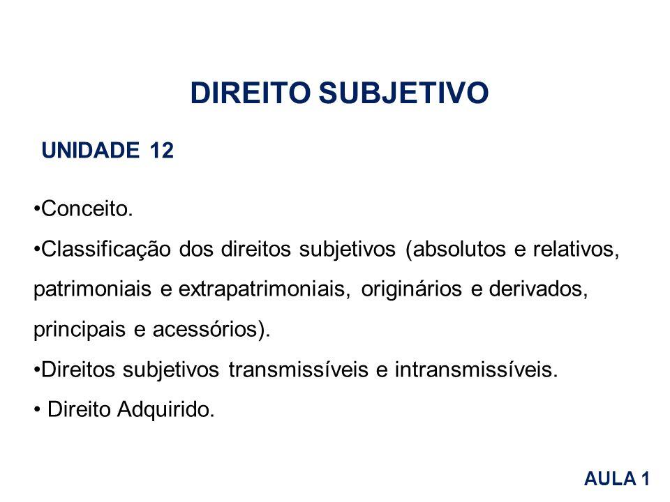 Conceito. Classificação dos direitos subjetivos (absolutos e relativos, patrimoniais e extrapatrimoniais, originários e derivados, principais e acessó