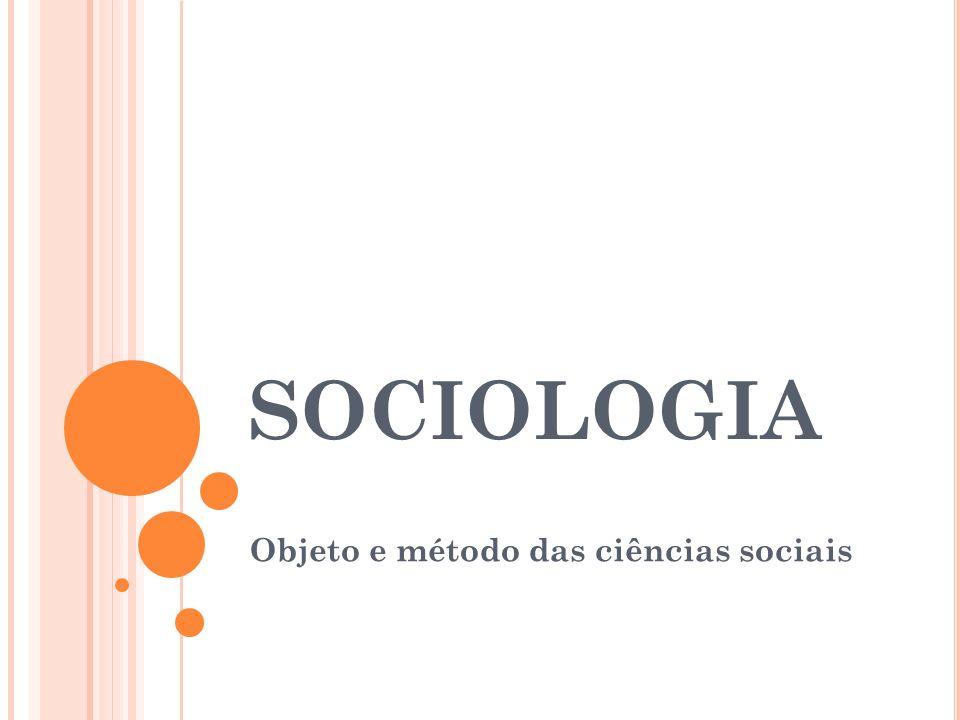 SOCIOLOGIA Objeto e método das ciências sociais