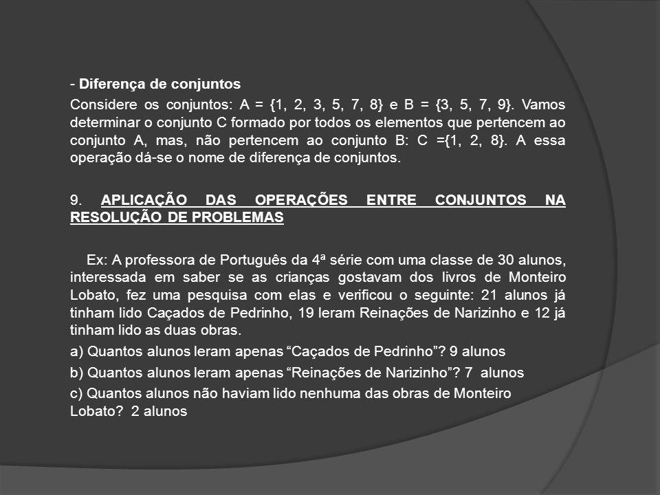 - Diferença de conjuntos Considere os conjuntos: A = {1, 2, 3, 5, 7, 8} e B = {3, 5, 7, 9}. Vamos determinar o conjunto C formado por todos os element