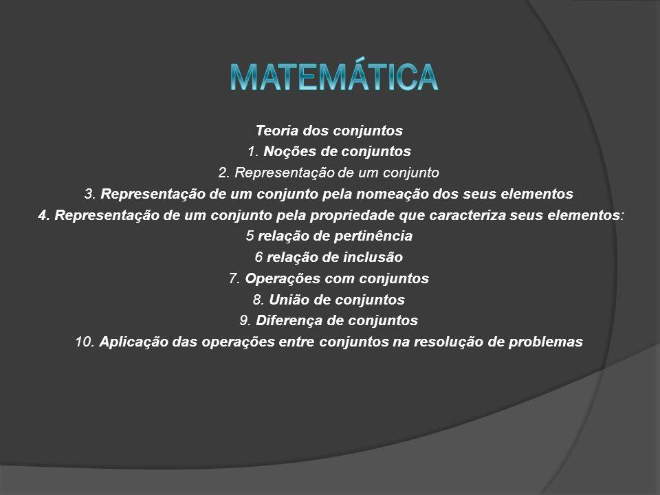 Teoria dos conjuntos 1. Noções de conjuntos 2. Representação de um conjunto 3. Representação de um conjunto pela nomeação dos seus elementos 4. Repres