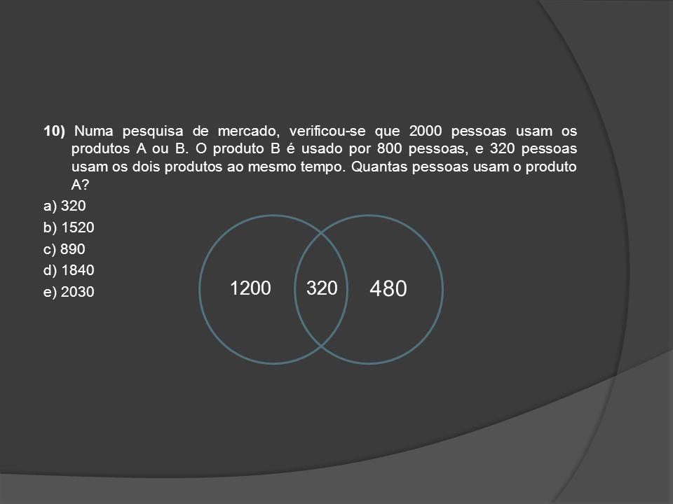10) Numa pesquisa de mercado, verificou-se que 2000 pessoas usam os produtos A ou B. O produto B é usado por 800 pessoas, e 320 pessoas usam os dois p