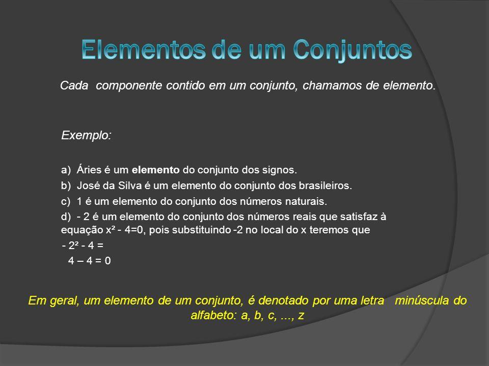 a) Áries é um elemento do conjunto dos signos. b) José da Silva é um elemento do conjunto dos brasileiros. c) 1 é um elemento do conjunto dos números