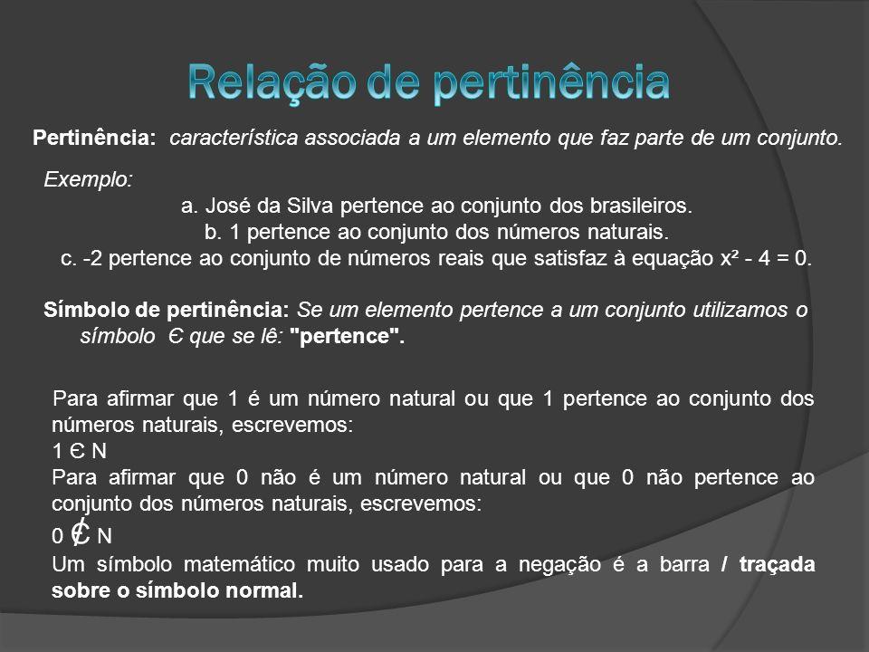 / Pertinência: característica associada a um elemento que faz parte de um conjunto. Exemplo: a. José da Silva pertence ao conjunto dos brasileiros. b.
