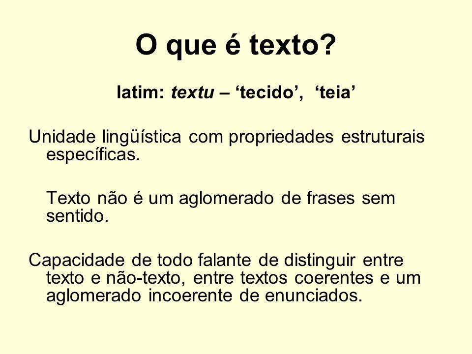 O que é texto? latim: textu – tecido, teia Unidade lingüística com propriedades estruturais específicas. Texto não é um aglomerado de frases sem senti