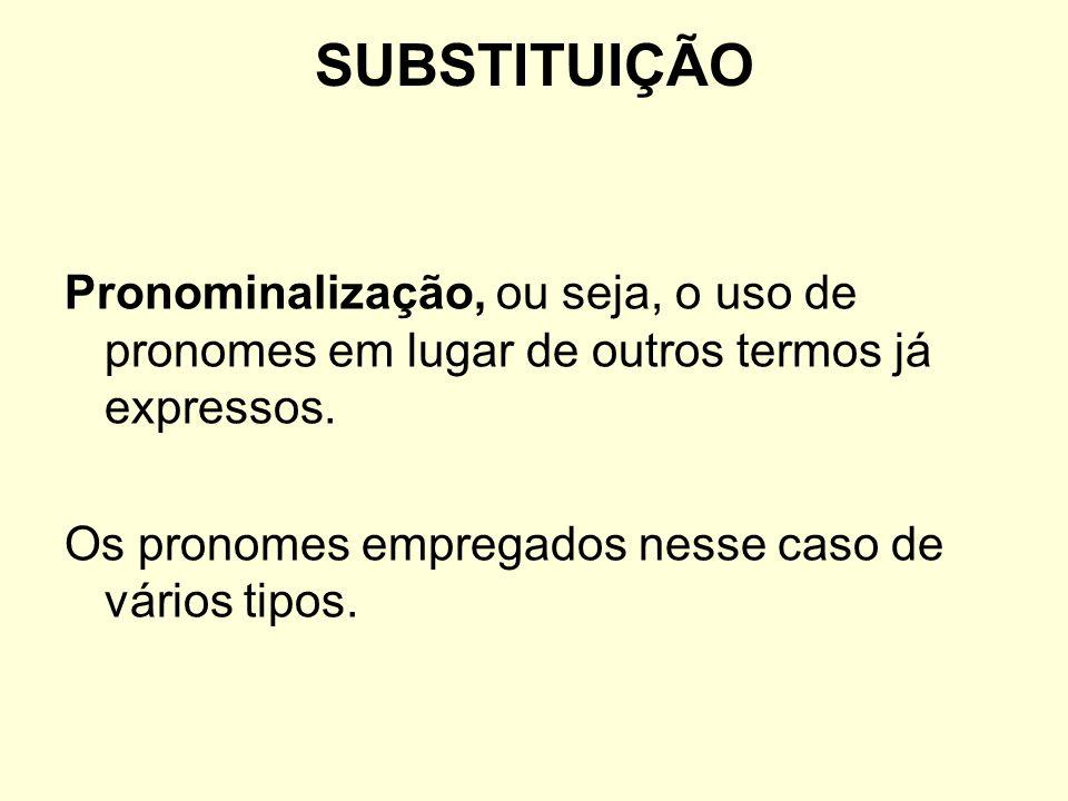 SUBSTITUIÇÃO Pronominalização, ou seja, o uso de pronomes em lugar de outros termos já expressos. Os pronomes empregados nesse caso de vários tipos.