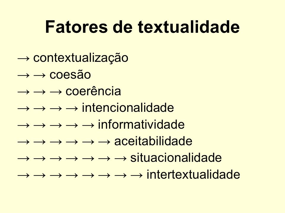 Fatores de textualidade contextualização coesão coerência intencionalidade informatividade aceitabilidade situacionalidade intertextualidade