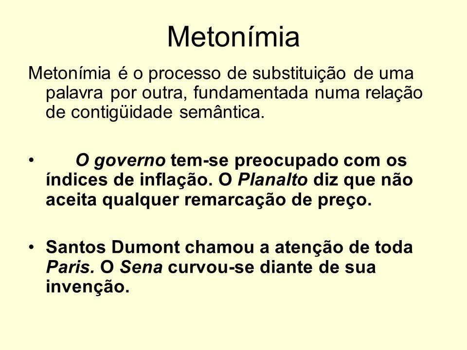 Metonímia Metonímia é o processo de substituição de uma palavra por outra, fundamentada numa relação de contigüidade semântica. O governo tem-se preoc