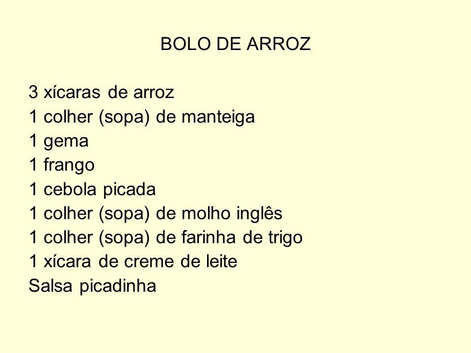 BOLO DE ARROZ 3 xícaras de arroz 1 colher (sopa) de manteiga 1 gema 1 frango 1 cebola picada 1 colher (sopa) de molho inglês 1 colher (sopa) de farinh