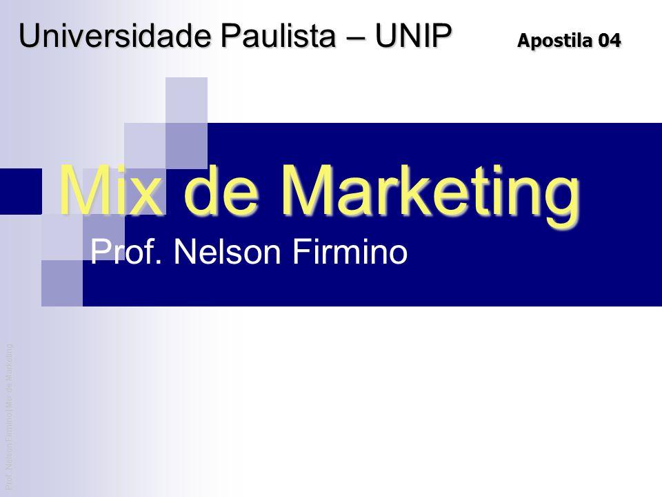 Prof. Nelson Firmino | Mix de Marketing Mix de Marketing Prof. Nelson Firmino Universidade Paulista – UNIP Apostila 04