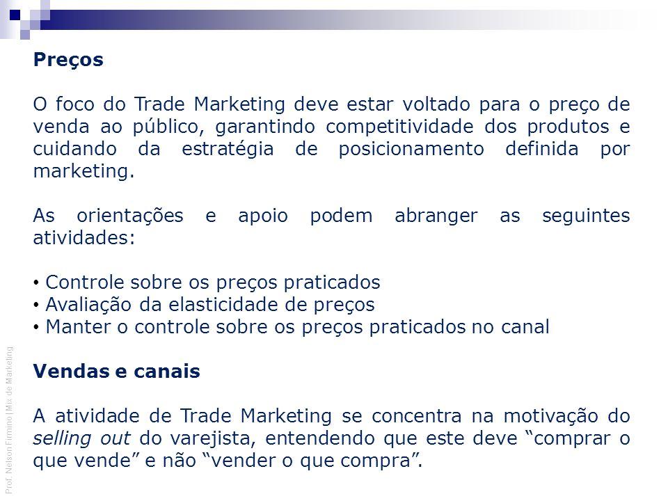 Prof. Nelson Firmino | Mix de Marketing Preços O foco do Trade Marketing deve estar voltado para o preço de venda ao público, garantindo competitivida
