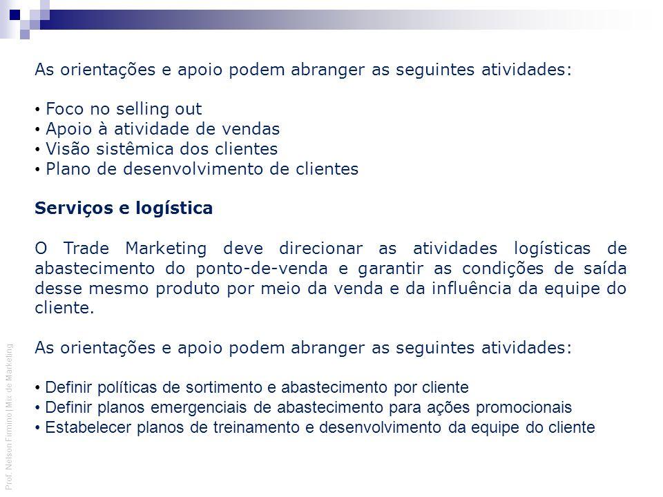 Prof. Nelson Firmino | Mix de Marketing As orientações e apoio podem abranger as seguintes atividades: Foco no selling out Apoio à atividade de vendas