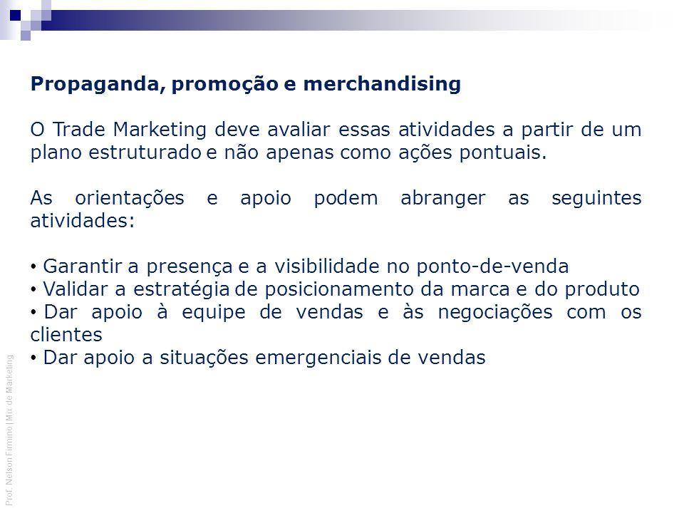 Prof. Nelson Firmino | Mix de Marketing Propaganda, promoção e merchandising O Trade Marketing deve avaliar essas atividades a partir de um plano estr