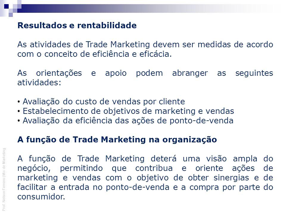 Prof. Nelson Firmino | Mix de Marketing Resultados e rentabilidade As atividades de Trade Marketing devem ser medidas de acordo com o conceito de efic