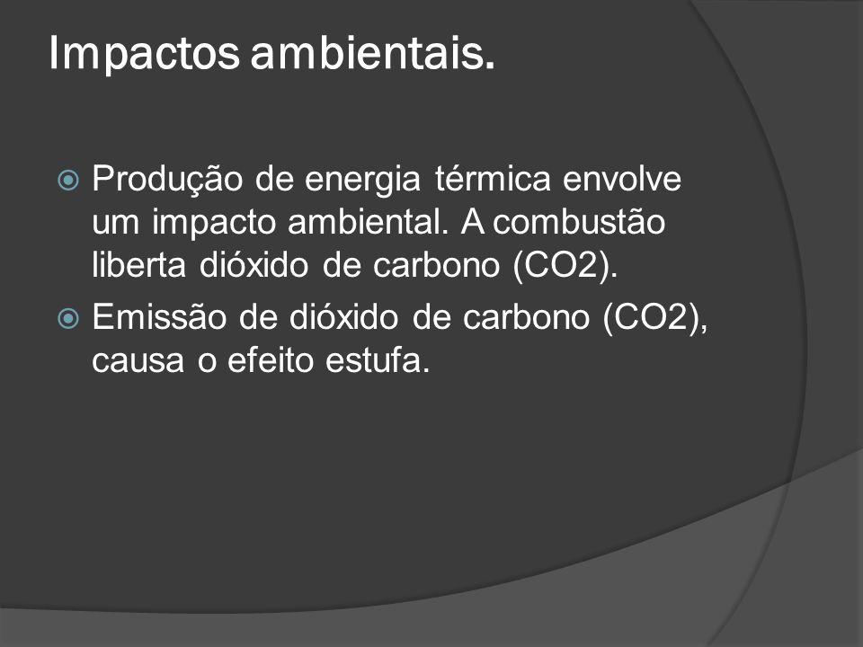 Impactos ambientais. Produção de energia térmica envolve um impacto ambiental. A combustão liberta dióxido de carbono (CO2). Emissão de dióxido de car