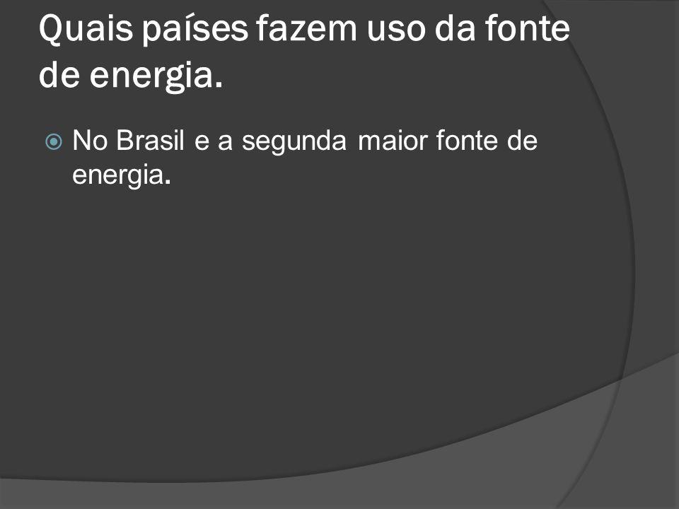 Quais países fazem uso da fonte de energia. No Brasil e a segunda maior fonte de energia.