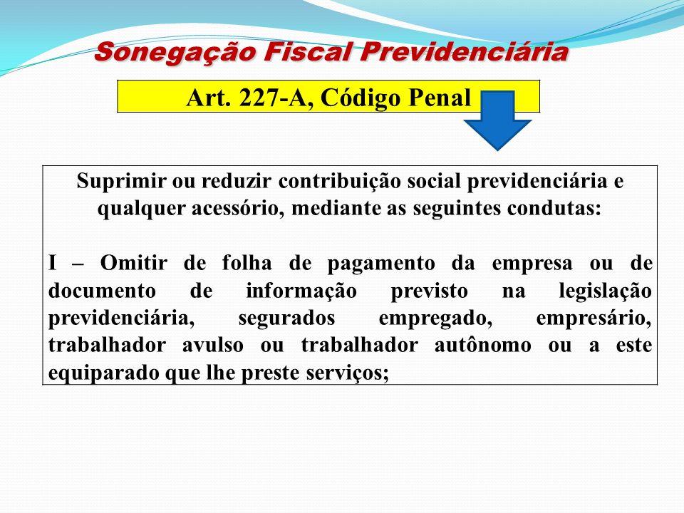 Art. 227-A, Código Penal Suprimir ou reduzir contribuição social previdenciária e qualquer acessório, mediante as seguintes condutas: I – Omitir de fo