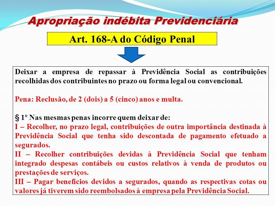 Apropriação indébita Previdenciária Apropriação indébita Previdenciária Art. 168-A do Código Penal Deixar a empresa de repassar à Previdência Social a