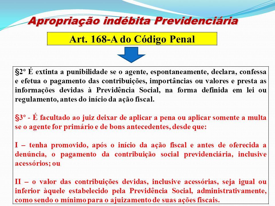 Apropriação indébita Previdenciária Apropriação indébita Previdenciária Art. 168-A do Código Penal §2º É extinta a punibilidade se o agente, espontane