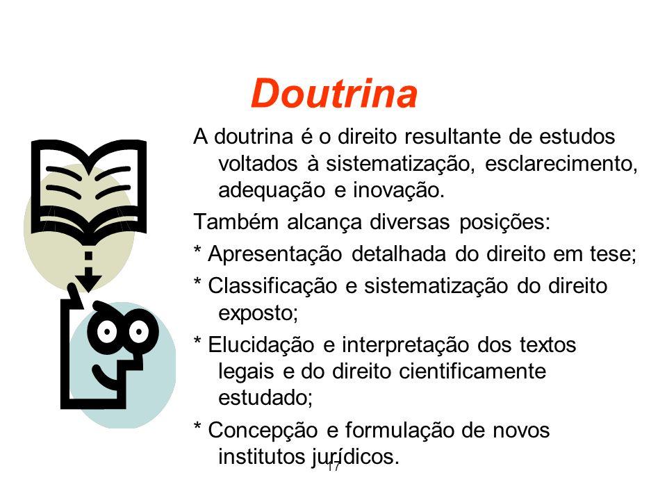 Doutrina A doutrina é o direito resultante de estudos voltados à sistematização, esclarecimento, adequação e inovação. Também alcança diversas posiçõe