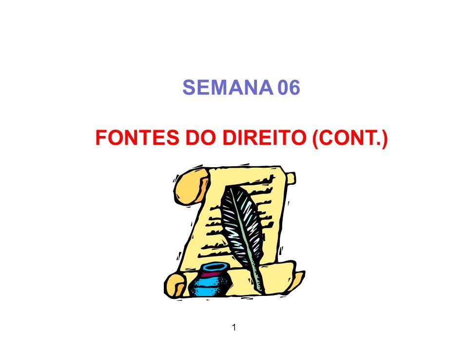 SEMANA 06 FONTES DO DIREITO (CONT.) 2 1