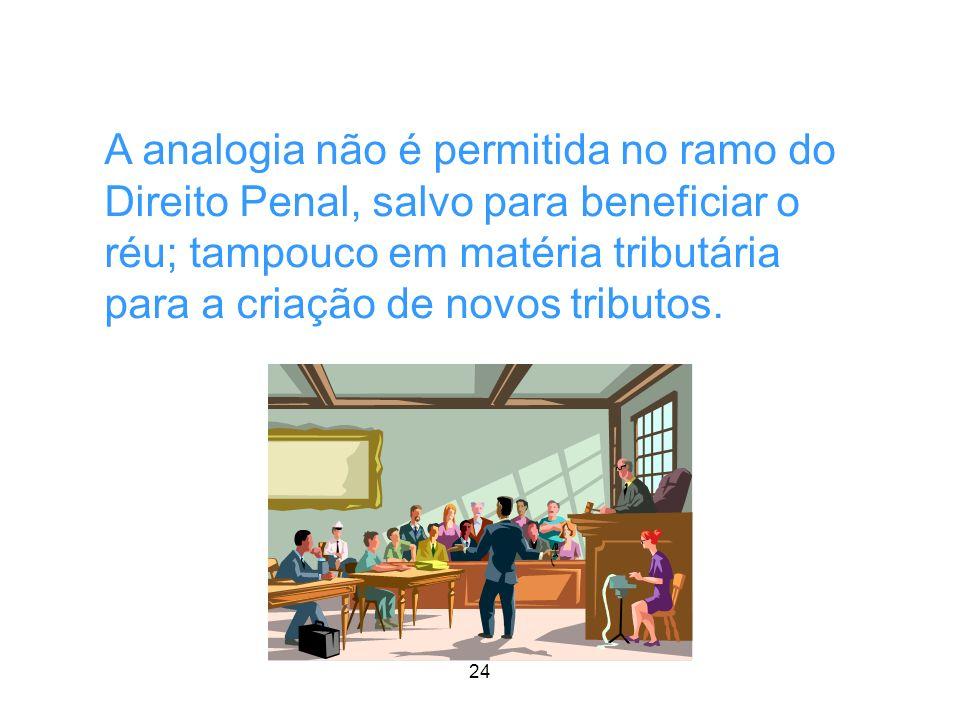 24 AULA 1 A analogia não é permitida no ramo do Direito Penal, salvo para beneficiar o réu; tampouco em matéria tributária para a criação de novos tri