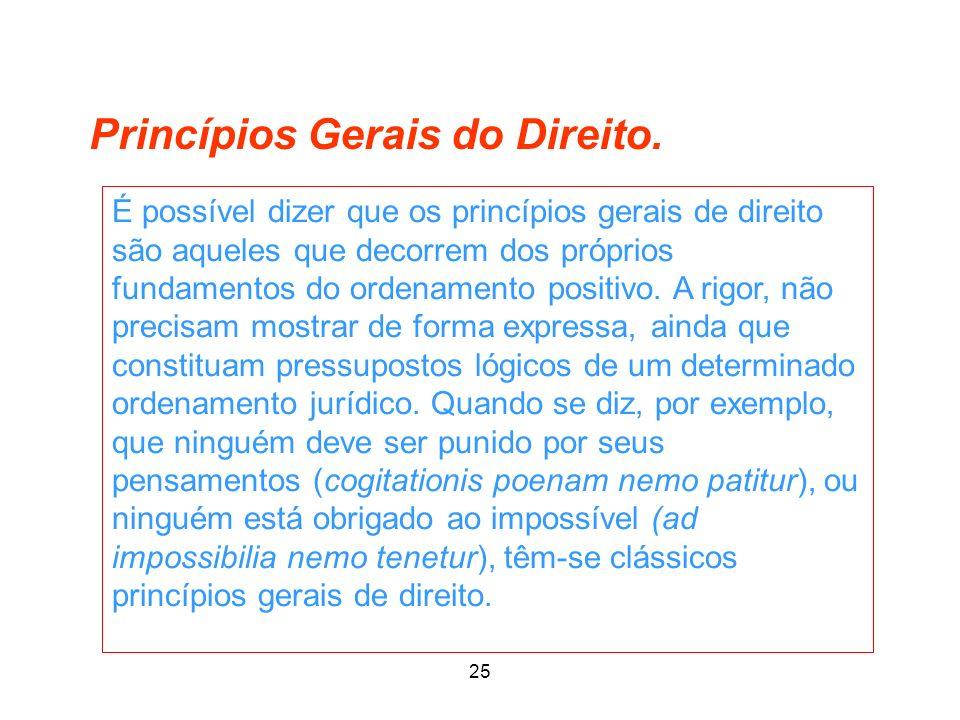 25 Princípios Gerais do Direito. É possível dizer que os princípios gerais de direito são aqueles que decorrem dos próprios fundamentos do ordenamento