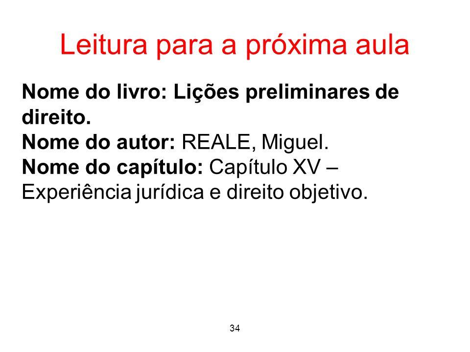 Leitura para a próxima aula Nome do livro: Lições preliminares de direito. Nome do autor: REALE, Miguel. Nome do capítulo: Capítulo XV – Experiência j