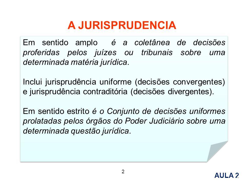 A JURISPRUDENCIA AULA 1 AULA 2 5 2 Em sentido amplo é a coletânea de decisões proferidas pelos juízes ou tribunais sobre uma determinada matéria juríd