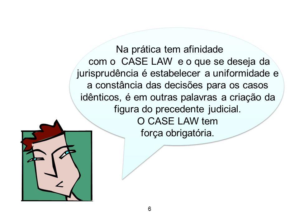 Moral 6 6 Na prática tem afinidade com o CASE LAW e o que se deseja da jurisprudência é estabelecer a uniformidade e a constância das decisões para os