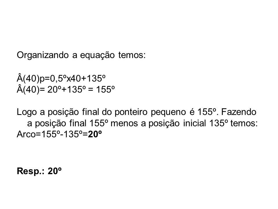 Organizando a equação temos: Â(40)p=0,5ºx40+135º Â(40)= 20º+135º = 155º Logo a posição final do ponteiro pequeno é 155º. Fazendo a posição final 155º