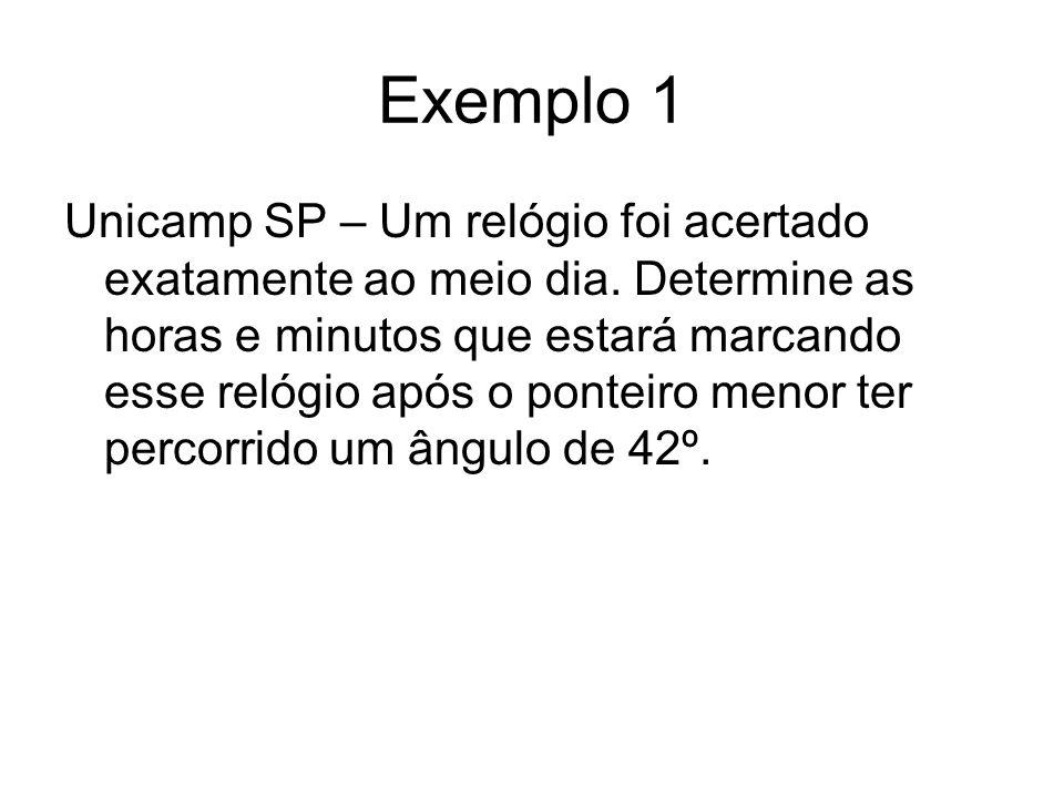 Exemplo 1 Unicamp SP – Um relógio foi acertado exatamente ao meio dia. Determine as horas e minutos que estará marcando esse relógio após o ponteiro m