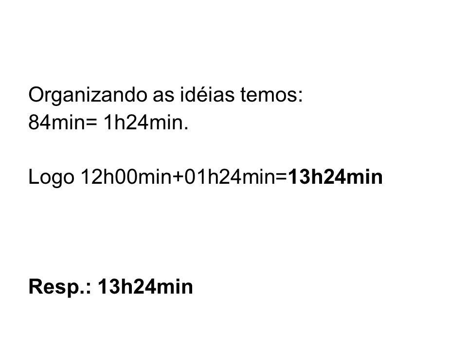 Organizando as idéias temos: 84min= 1h24min. Logo 12h00min+01h24min=13h24min Resp.: 13h24min