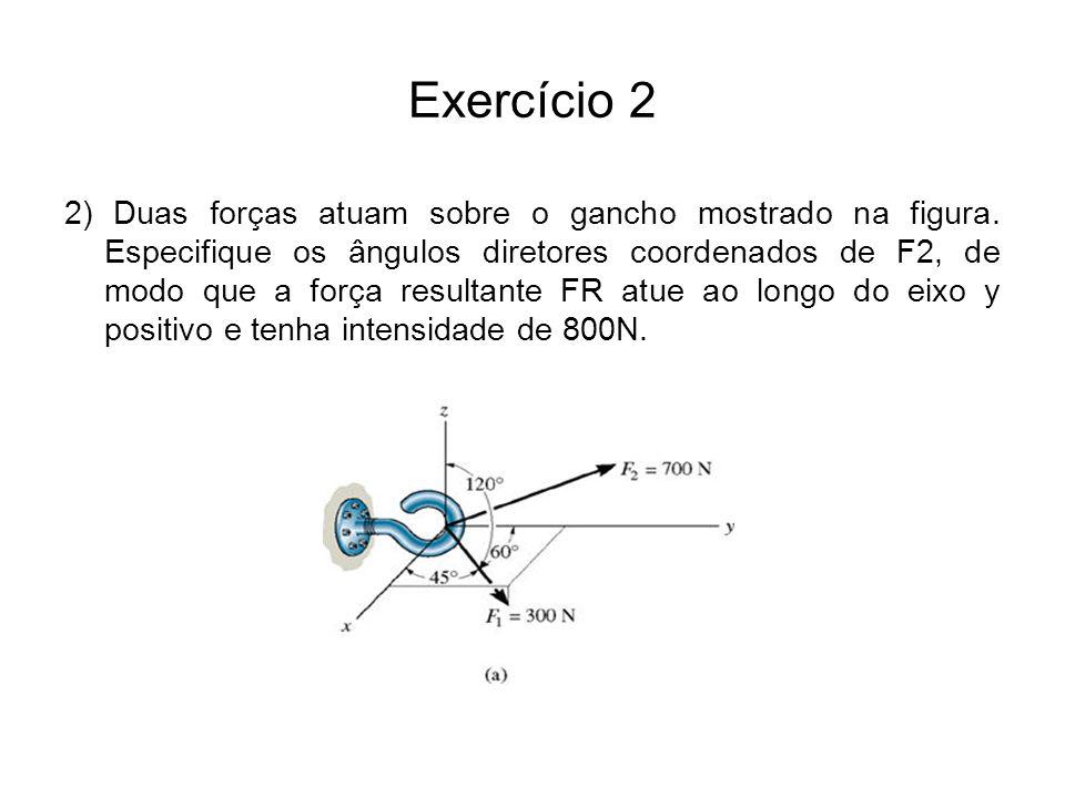 Exercício 2 2) Duas forças atuam sobre o gancho mostrado na figura. Especifique os ângulos diretores coordenados de F2, de modo que a força resultante
