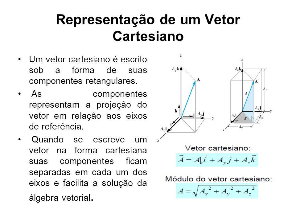 Representação de um Vetor Cartesiano Um vetor cartesiano é escrito sob a forma de suas componentes retangulares. As componentes representam a projeção