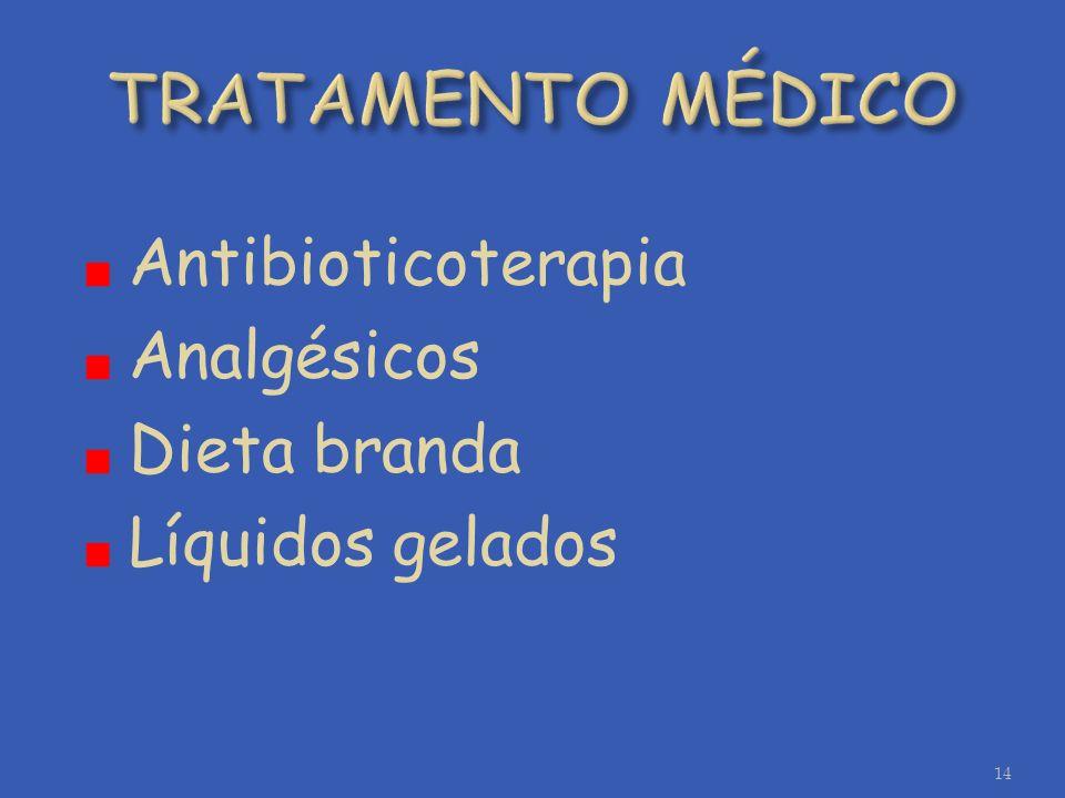 Antibioticoterapia Analgésicos Dieta branda Líquidos gelados 14