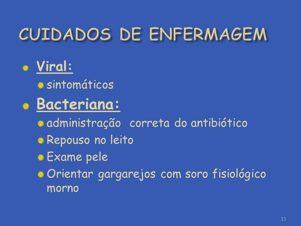 Viral: sintomáticos Bacteriana: administração correta do antibiótico Repouso no leito Exame pele Orientar gargarejos com soro fisiológico morno 15