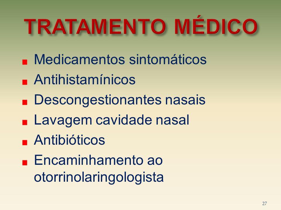 Medicamentos sintomáticos Antihistamínicos Descongestionantes nasais Lavagem cavidade nasal Antibióticos Encaminhamento ao otorrinolaringologista 27