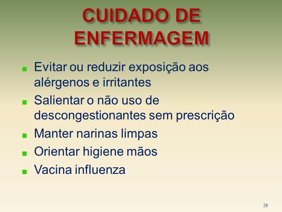 Evitar ou reduzir exposição aos alérgenos e irritantes Salientar o não uso de descongestionantes sem prescrição Manter narinas limpas Orientar higiene