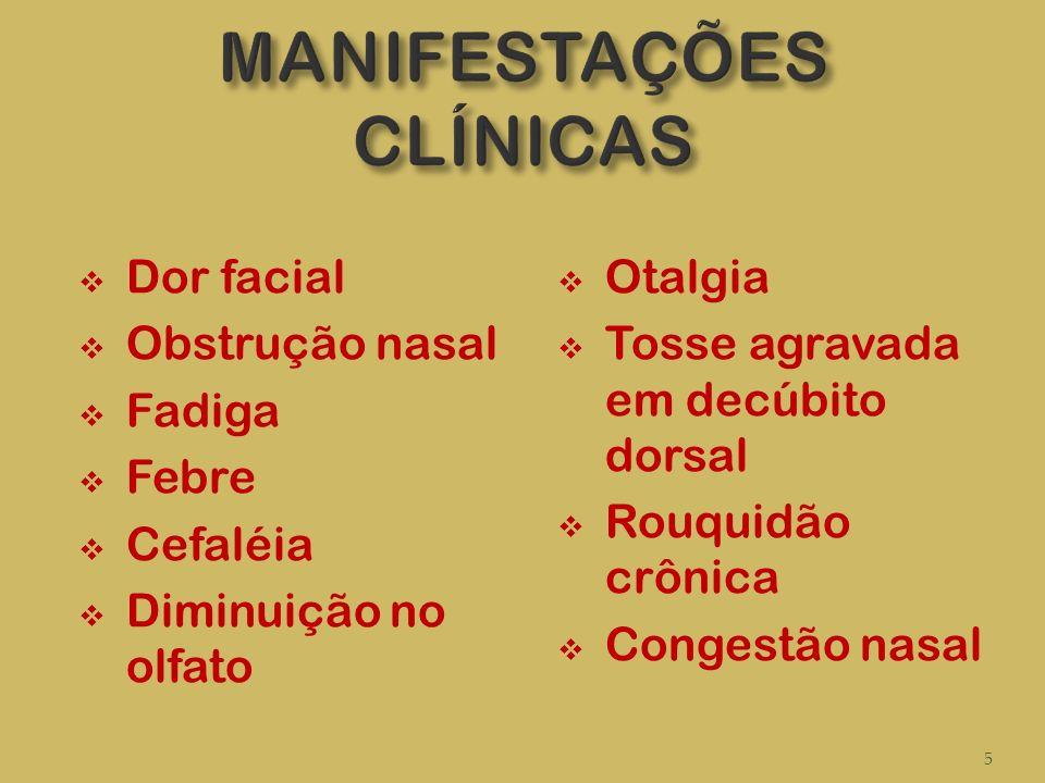 Dor facial Obstrução nasal Fadiga Febre Cefaléia Diminuição no olfato Otalgia Tosse agravada em decúbito dorsal Rouquidão crônica Congestão nasal 5
