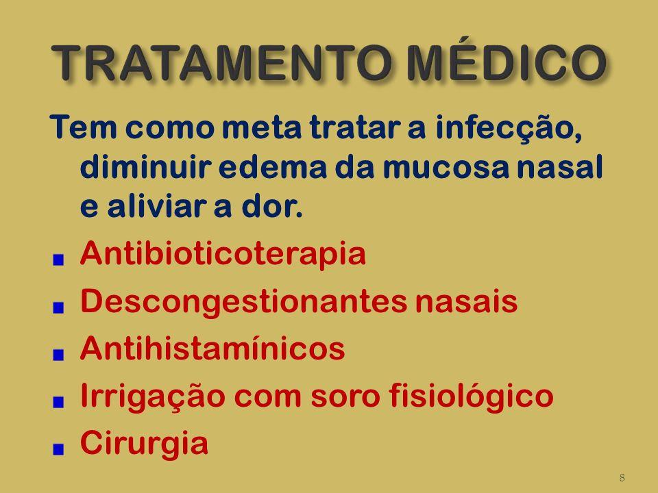 Tem como meta tratar a infecção, diminuir edema da mucosa nasal e aliviar a dor. Antibioticoterapia Descongestionantes nasais Antihistamínicos Irrigaç