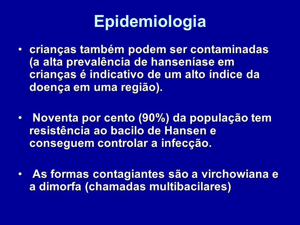 Epidemiologia crianças também podem ser contaminadas (a alta prevalência de hanseníase em crianças é indicativo de um alto índice da doença em uma reg