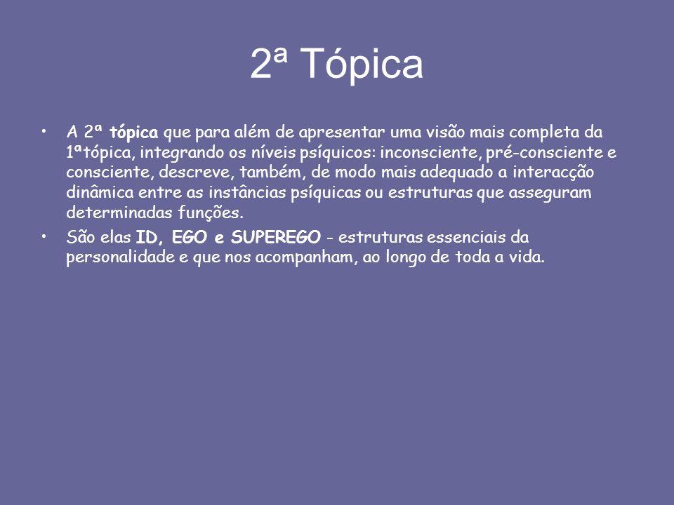 2ª Tópica A 2ª tópica que para além de apresentar uma visão mais completa da 1ªtópica, integrando os níveis psíquicos: inconsciente, pré-consciente e