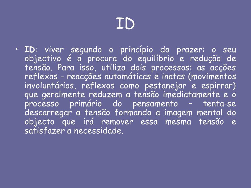 ID ID: viver segundo o princípio do prazer: o seu objectivo é a procura do equilíbrio e redução de tensão. Para isso, utiliza dois processos: as acçõe