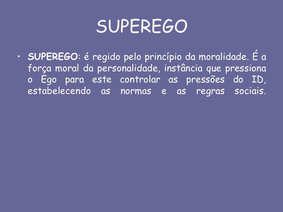 SUPEREGO SUPEREGO: é regido pelo princípio da moralidade. É a força moral da personalidade, instância que pressiona o Ego para este controlar as press